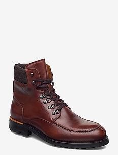 BIACARNEY Tweed Boot - kängor med snörning - cognac