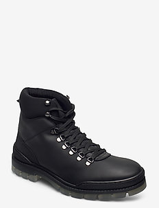 BIACARY Leather Boot - med snøre - black