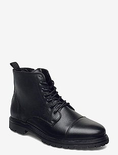 BIACARLO Leather Boot - bottes lacées - black