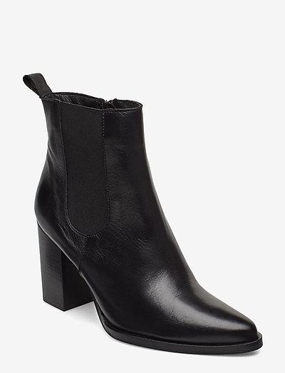 BIAJUDIA Leather Boot - heeled ankle boots - black