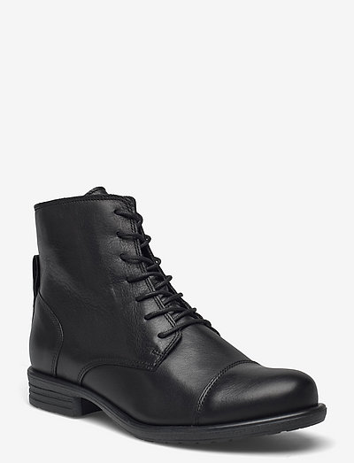 BIADANELLE Leather Derby Boot - flat ankle boots - black