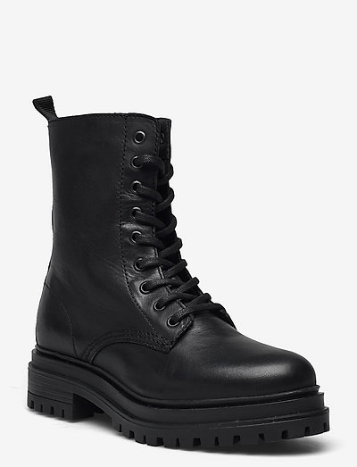 BIADARLENE Laced Up Boot - flat ankle boots - black