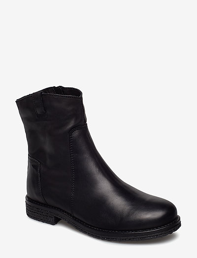 BIAATALIA Winter Leather Boot - flat ankle boots - black