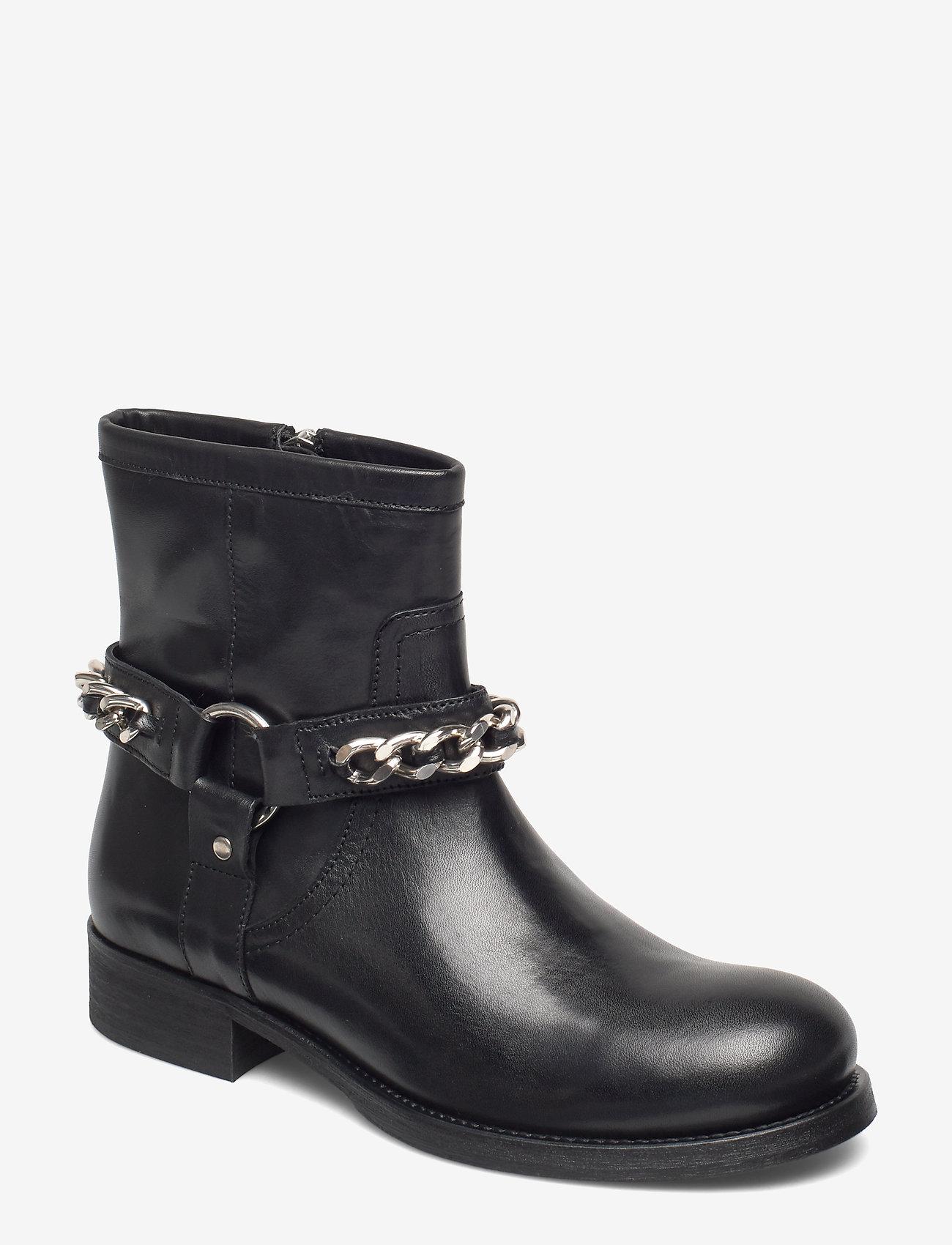Billi Bi - Boots 3570 - flate ankelstøvletter - black calf/silver 803 - 0
