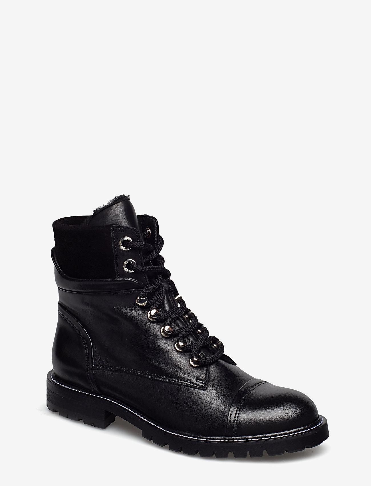 Billi Bi - Warm lining 7437 - flate ankelstøvletter - black calf/black suede 650 - 0