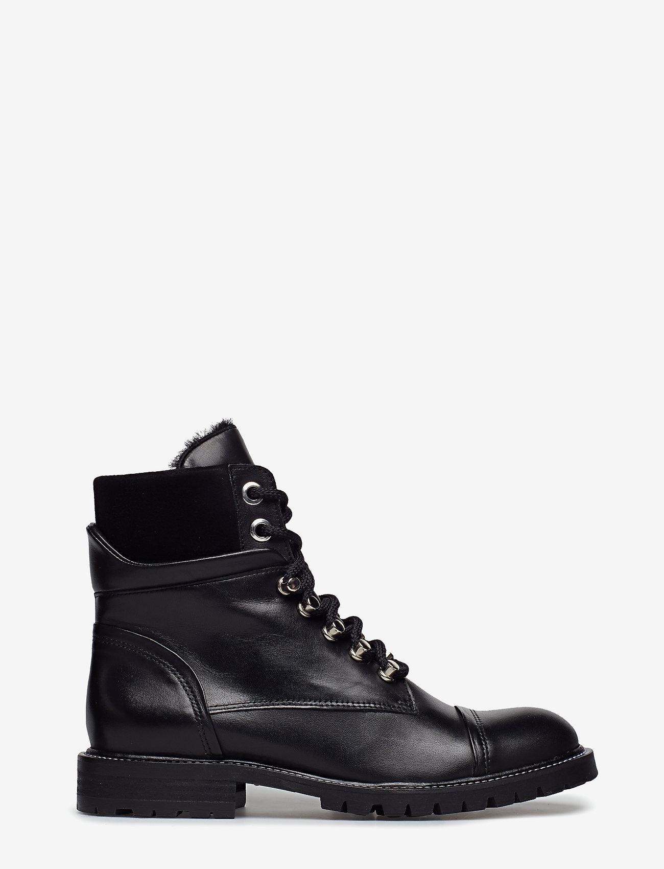 Billi Bi - Warm lining 7437 - flate ankelstøvletter - black calf/black suede 650 - 1
