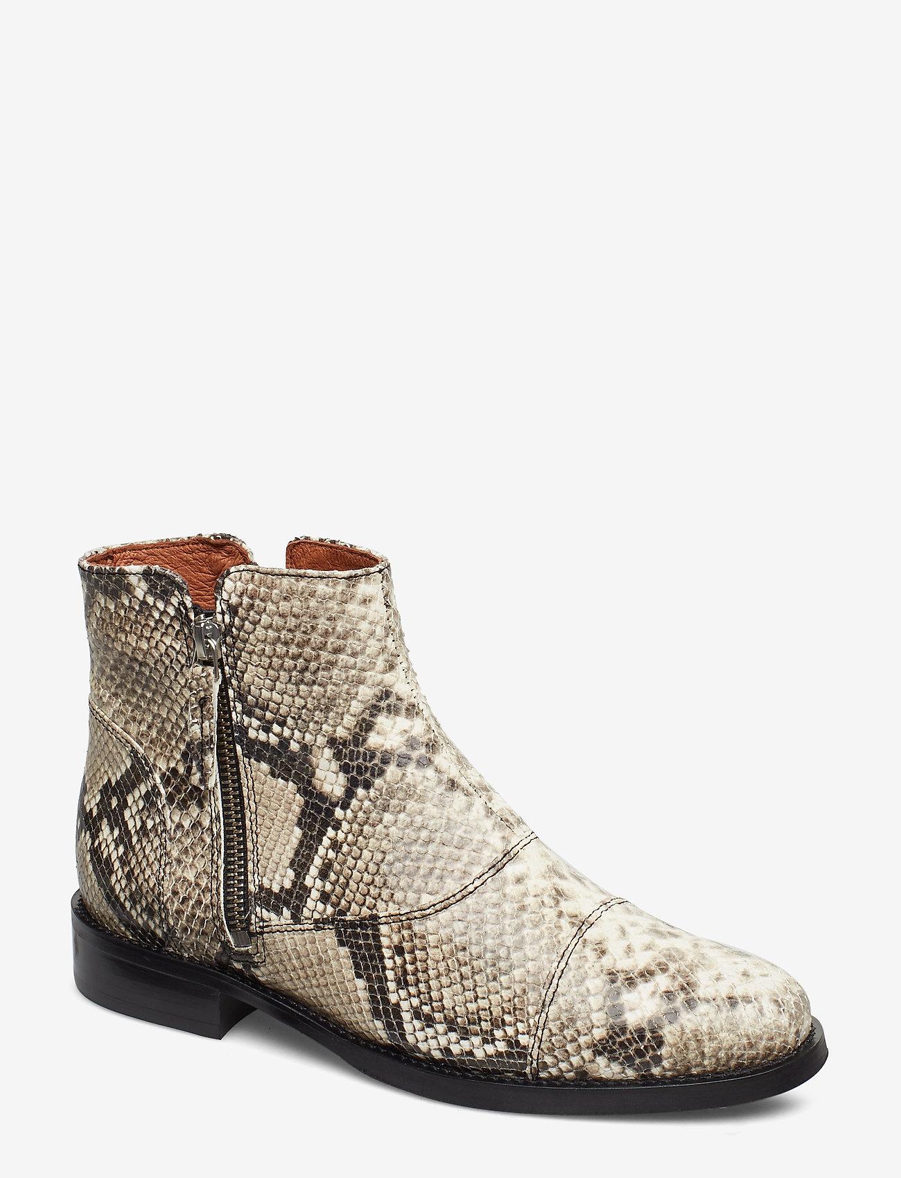 Billi Bi - BOOTS - flate ankelstøvletter - off white snake/silver 33 x - 0