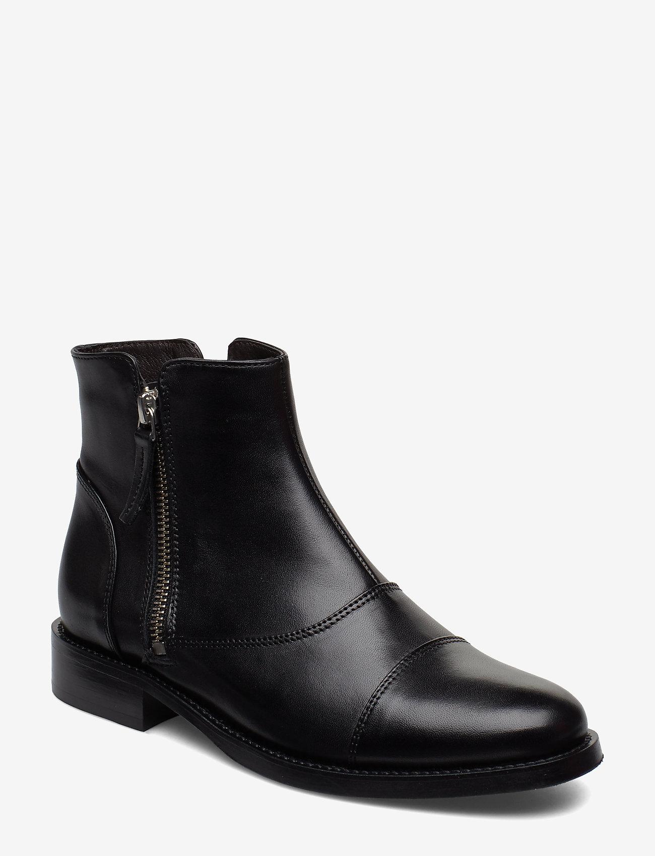 Billi Bi - BOOTS - flate ankelstøvletter - black calf/silver 603 - 0