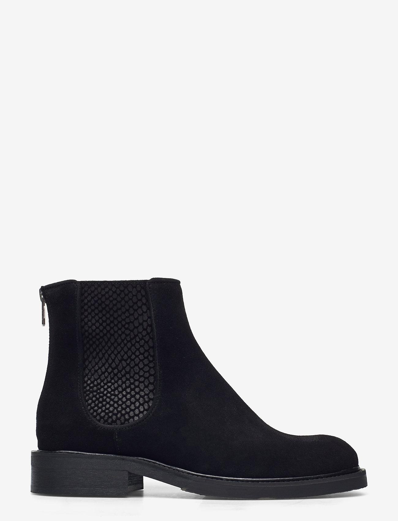 Billi Bi - Boots 93451 - platte enkellaarsjes - black suede/red zip 509 - 1