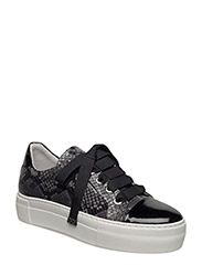 SHOES - BLACK PATENT/GREY SNAKE 234