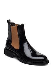 Boots 37952 - BLACK POLIDO/CAMEL ELAST 904