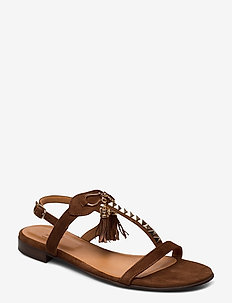 Sandals 18626 - COGNAC SUEDE/GOLD 556