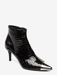 Booties 23350 - ankle boots with heel - black croco patent/silver 203