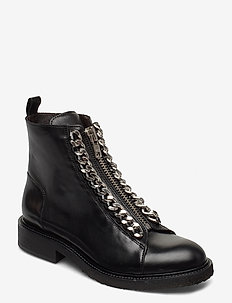 Boots 27428 - flat ankle boots - black calf/metal silver 80