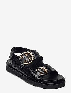 Sandals 2751 - flade sandaler - black monterrey croco 20