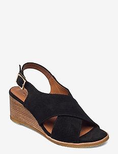Sandals 2770 - kilehæl - black babysilk suede 500