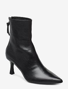 Booties 3357 - ankelstøvler med hæl - black nappa/silver 703