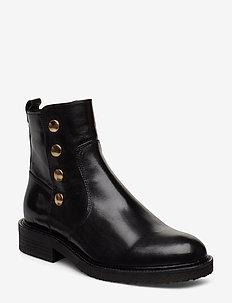 Boots 3526 - flate ankelstøvletter - black baby buffalo/gold 602