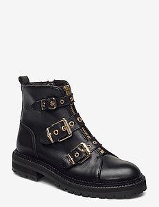 Boots 3552 - flate ankelstøvletter - black calf/gold 602