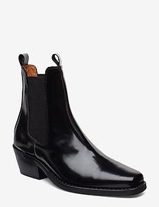 Booties 3696 - talon haut - black polido 90