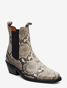 Booties 3696 - ankle boots with heel - off white snake 33 v