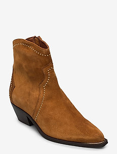 Booties 3703 - ankle boots with heel - cognac babysilk suede/gold 555