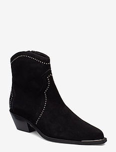 Booties 3703 - ankle boots with heel - black suede/silver 503