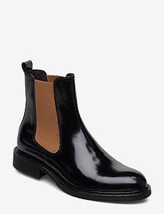 Boots 37952 - bottes chelsea - black polido/camel elast 904