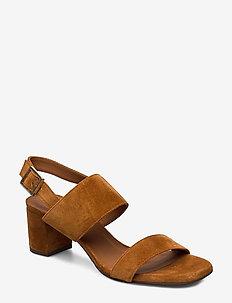 Sandals 4032 - høyhælte sandaler - cognac 1613 babysilk suede 555