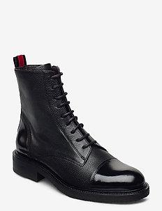 Boots 4048 - flate ankelstøvletter - black comb./red 983