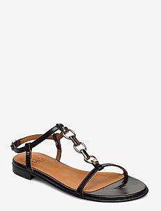 Sandals 4141 - flade sandaler - black calf/silver 803