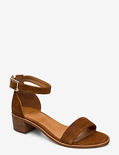 Sandals 4182 - hoge sandalen - cognac 1613 babysilk suede 555