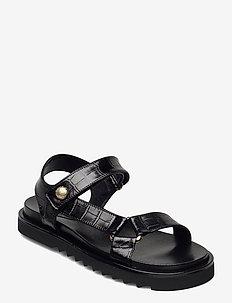 Sandals 4192 - platta sandaler - black monterrey croco 20