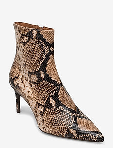 Booties - ankle boots with heel - beige 6071 snake 34
