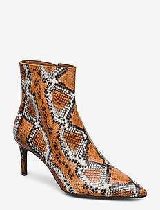 Booties - ankle boots with heel - orange burned snake 36