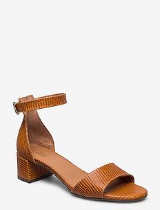 Sandals 4607 - høyhælte sandaler - lt. cognac lizard 336