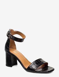 Sandals 4647 - sandały na obcasie - black monterey croco 20