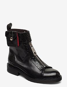 Boots 4766 - flate ankelstøvletter - black comb./red 629