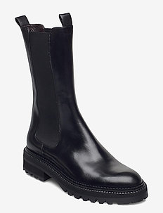 Boots 4808 - platte enkellaarsjes - black calf 80