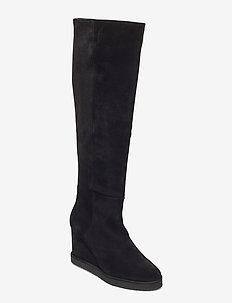 Long Boots 4835 - höga stövlar - black babysilk suede 500
