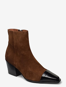 Boots 4932 - ankle boots with heel - bl.polido/lt.brown 976 sue.955
