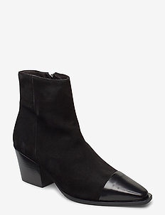 Boots 4932 - wysoki obcas - black polido/black suede 950