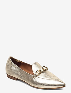 Shoes 54503 - instappers - metal crackele gold 002