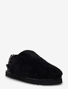 Slipper  6070 - mules & slipins - black lamb/black sole 930