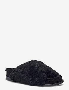 Slipper  6075 - hausschuhe - black lamb 930