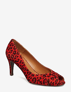 PUMPS 8081 - peeptoes - red leopardo lips suede 548