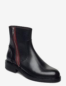 Boots 83450 - chelsea boots - black calf /red zip 80