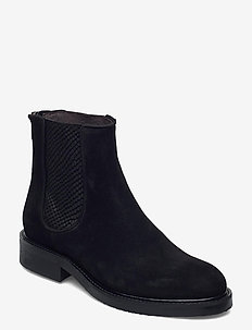 Boots 83451 - chelsea boots - black suede/red zip 509