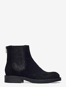 Boots 83451 - flate ankelstøvletter - black suede/red zip 509