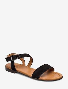 Sandals 8714 - flade sandaler - black suede/lt. sole 500